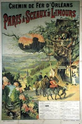 Poster advertising the Chemin de Fer d'Orleans from Paris to Sceaux and Limours