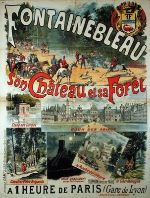 Poster advertising the Chateau and Forest of Fontainebleau