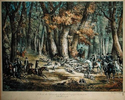Hunting Deer in the Forest at Compiegne, 27th April 1818