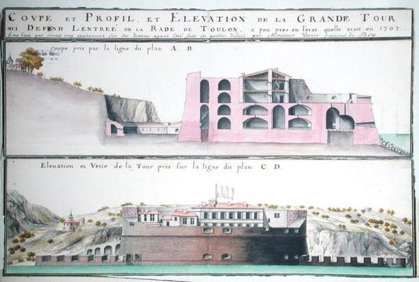 Ms 508/131 K fol.107 Cross-section and elevation of the harbour tower at Toulon, from 'Traite de Fortifications'