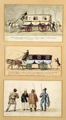 A Dame Blanche Carriage, an Omnibus and Drivers, 1815-30