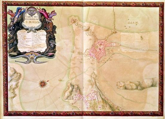 Ms 988 Vol.3 fol.29 Map and plan of Saint-Malo, from the 'Atlas Louis XIV', 1683-88