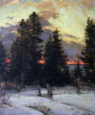 Sunset over a Winter Landscape, c.1902