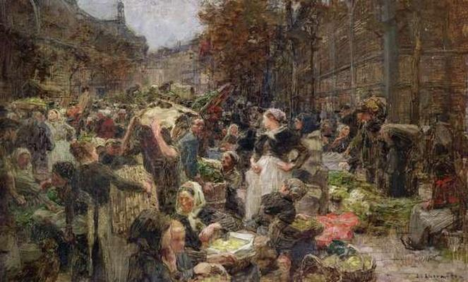 Les Halles, study for a painting for the Salon des Lettres at the Hotel de Ville, Paris, commissioned in 1889