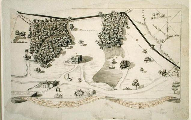 Plan of the Park at Norton Hall, Norton Priory, c.1750-60