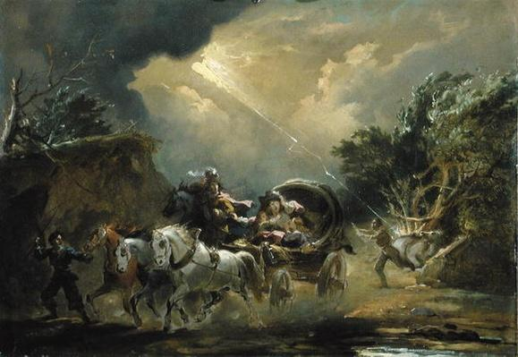 Coach in a Thunderstorm, 1790s