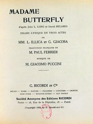 Playbill for 'Madame Butterfly' by Giacomo Puccini