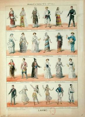 Cast of characters from the opera 'Lakme' by Leo Delibes