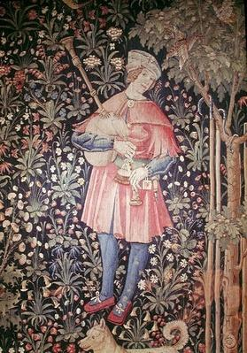 A Man Playing the Bagpipes, detail from 'La Danse', part of 'La Noble Pastorale', c.1500