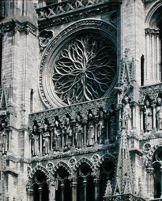 View of the rose window on the west facade, 1225-30