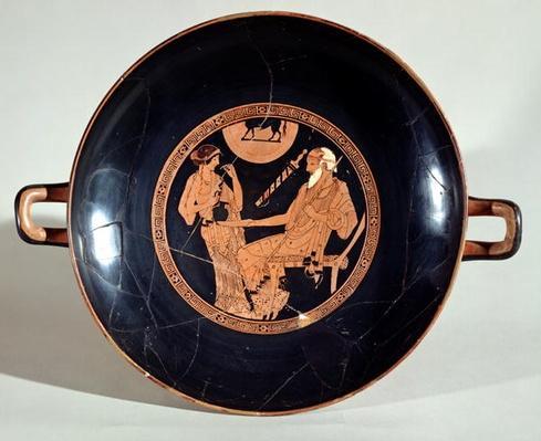 Attic red-figure cup depicting Phoenix and Briseis, Achilles' captive, c.490 BC