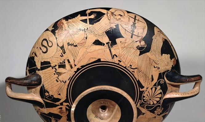 Detail of an attic red-figure cup depicting scenes from the Trojan War, c.490 BC