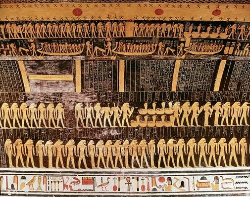 Detail from the Book of the Day from the ceiling of the burial chamber of the Tomb of Ramesses VI