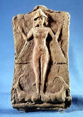 Plaque depicting a winged goddess, possibly Ishtar, standing on two ibexes, from Ras Shamra, Syria, third millenium BCE