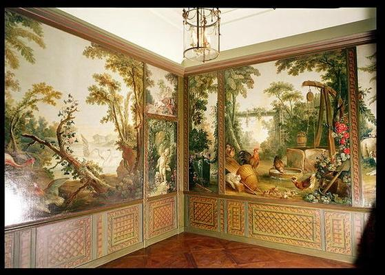 Painted wall panels in the Salon of Gille Demarteau