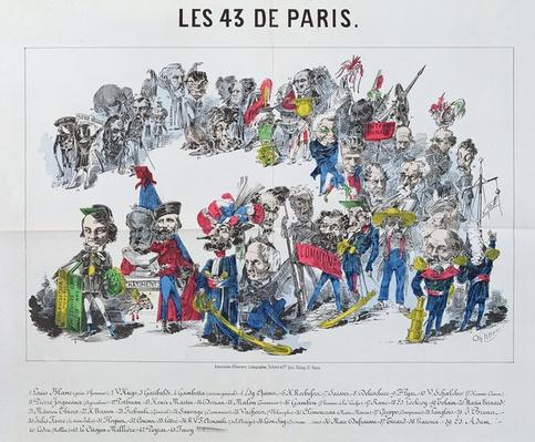 The Forty-Three Elected Representatives of France, caricature of the election of 8th February 1871