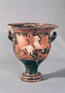 Red-figure krater depicting amazons and griffins