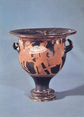 The Kertch Krater depicting a hoplite fighting two amazons