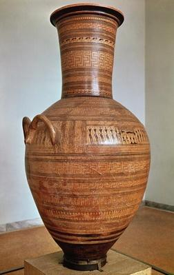 The Dipylon Amphora, funerary urn in the geometric style from the Kerameikos Necropolis, Athens, c.750 BC
