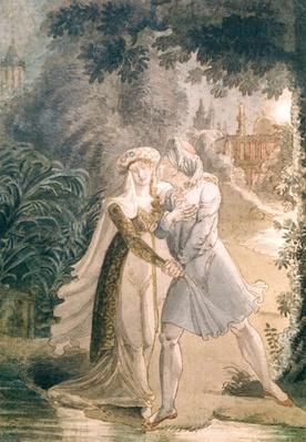 Blanca and Abon Hamet in the Gardens of the Alhambra, from 'Le Dernier des Abencerages' by Francois Rene