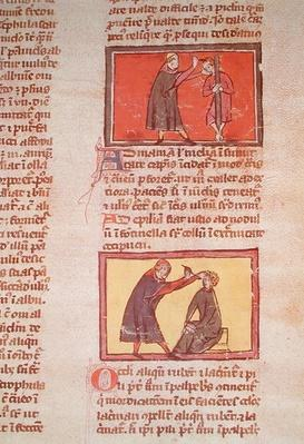 Ms H 89 fol.6 Surgery, from an edition of the 'Book of Surgery' by Rogier de Salerne