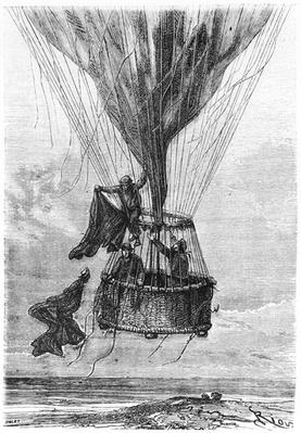 Three Men in a Gondola, illustration from 'Five Weeks in a Balloon' by Jules Verne