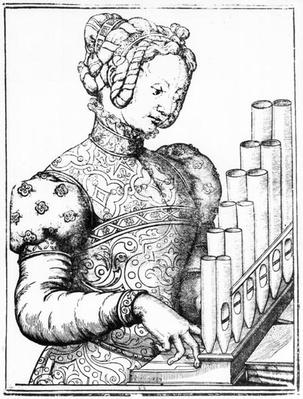 Young Woman Playing a Portative Organ