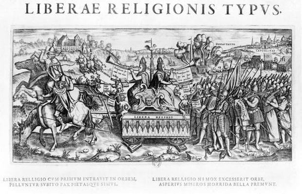'Librae Religionis Typus', allegory on the reformation depicting John Calvin