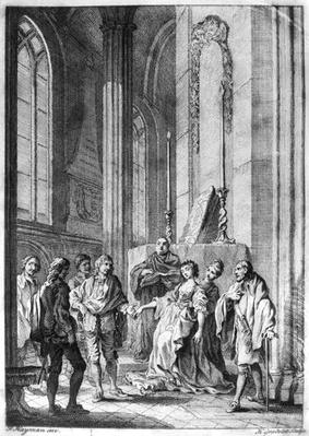 Claudio accusing Hero of faithlessness, Act IV Scene i from 'Much Ado About Nothing' by William Shakespeare