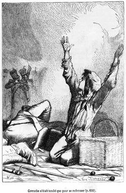 Gavroche had fallen only to rise again, illustration from 'Les Miserables' by Victor Hugo