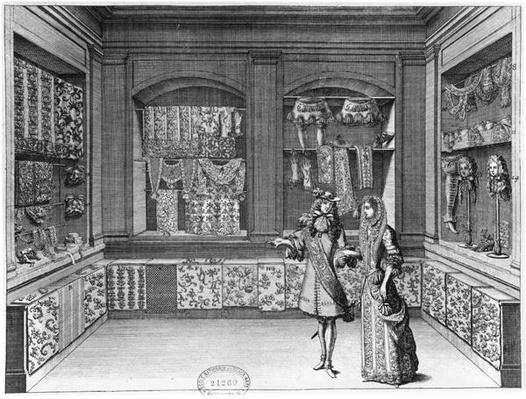 The Shop of Galanteries, illustration from 'Recueil d'ornements', late 17th century