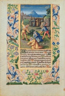 Ms Lat. Q.v.I.126 The Stoning of St. Stephen, from the 'Hours of Louis d'Orleans', 1469