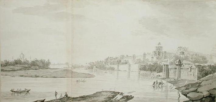 A View of the Fort of Agra on the River Jumna from the north-east, c.1783