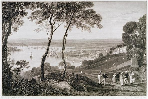 Plymouth Dock from Mount Edgecombe, from 'Cooke's Picturesque Views of the Southern Coast of England' engraved by William Bernard Cooke