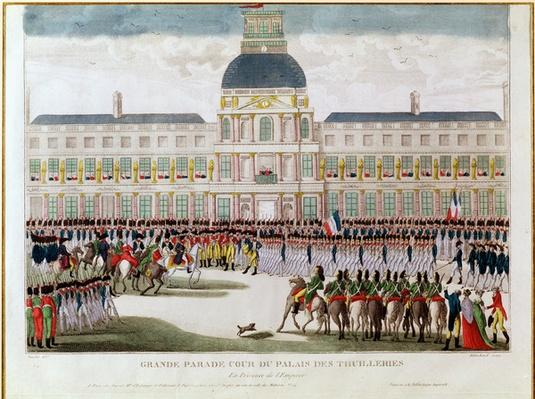 Parade in the Courtyard of the Palais des Tuileries in the Presence of the Emperor, engraved by Blanchard
