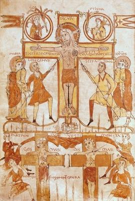 Ms 24 fol.7v The Crucifixion and the Division of the Clothes of the Saviour, from a Gospel