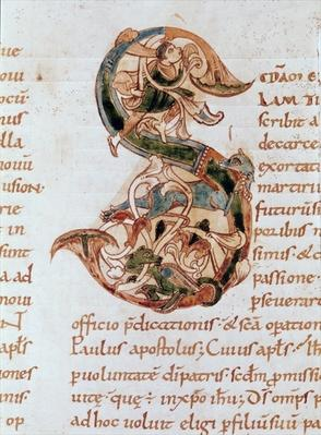 Ms 67 fol.195 Historiated initial 'S', from the Commentary on the Epistles of St. Paul