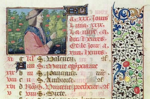 Ms 134 April: Picking Flowers, from a Book of Hours