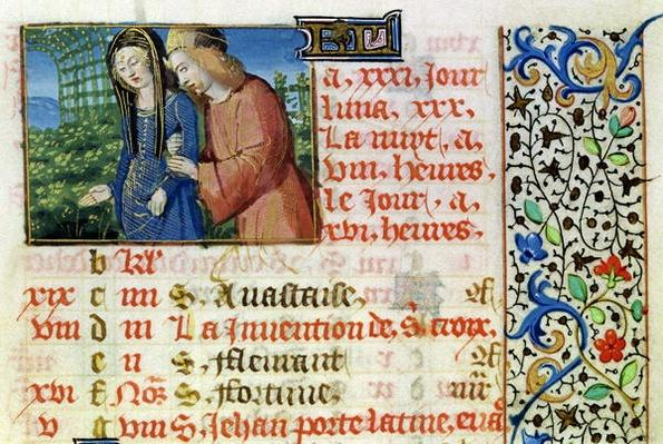 Ms 134 May: Courting Couple, from a Book of Hours