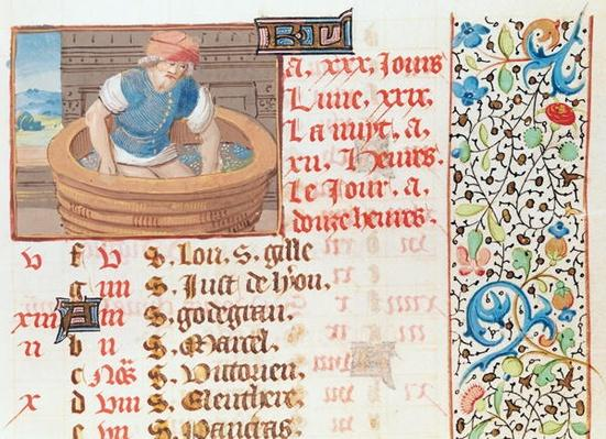 Ms 134 September: Trampling Grapes, from a Book of Hours