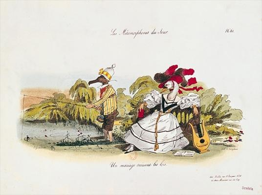 Marriage by the Book, caricature from 'Les Metamorphoses du Jour' series, engraved by G. Langlume