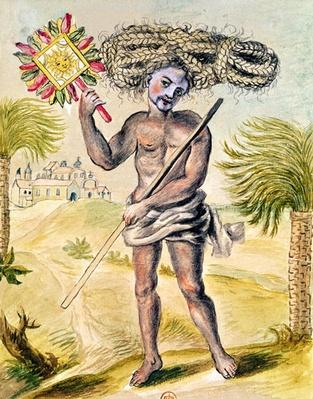 Penitent man in India with plaited hair, from 'Usages Indiens', 1688