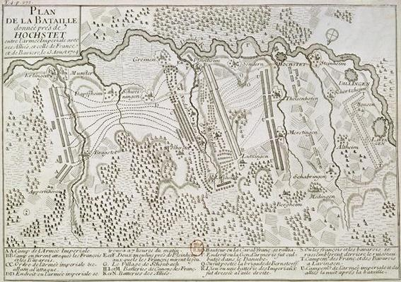Plan of the Battle of Blenheim between the Imperial Army and the Franco-Bavarian Army, 13th August 1704