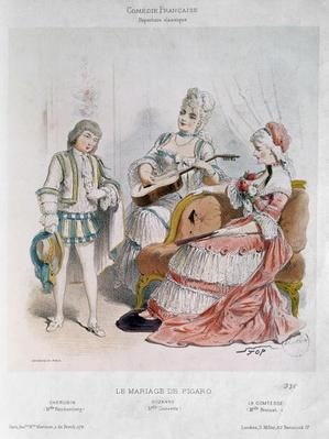 Mademoiselle Reichemberg as Cherubin, Mademoiselle Croizette as Suzanne and Mademoiselle Broisat as the Countess in 'The Marriage of Figaro' by Pierre-Augustin Caron de Beaumarchais
