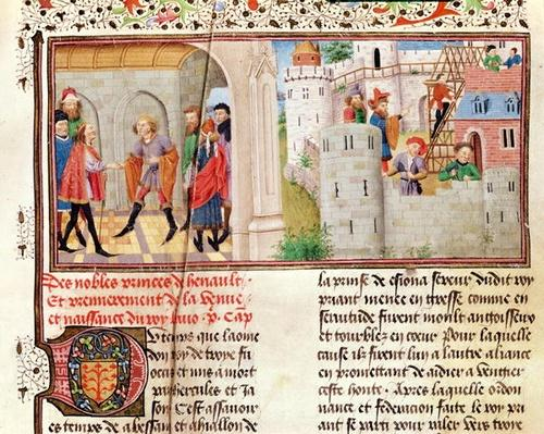 Ms 149 t.1 fol.16 An Agreement and the Building of a Castle, from the 'Histoire des Nobles Princes de Hainaut', by Jacques de Guise