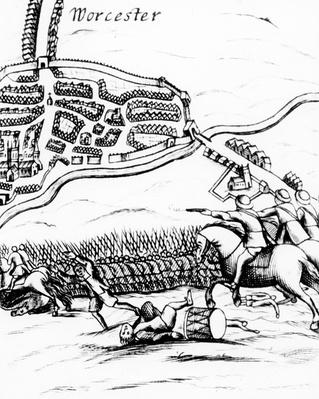 The Battle of Worcester on 3rd September 1651, published in a broadsheet of 1660