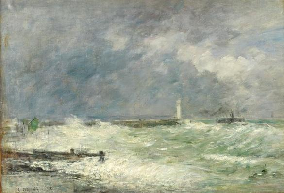 Entrance to the Harbour at Le Havre in Stormy Weather, 1895