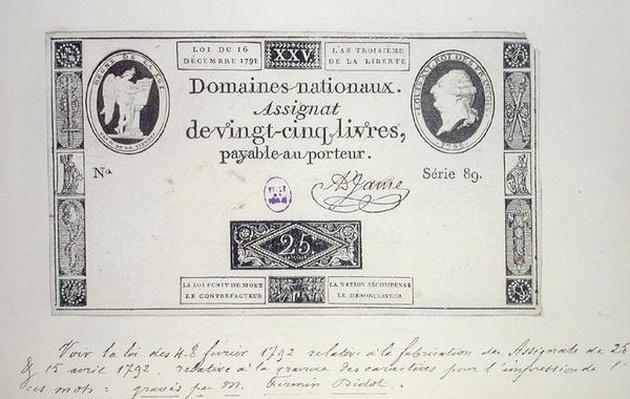 Twenty five livres banknote, series 89