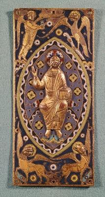 Reliquary plaque depicting Christ with the symbols of the evangelists