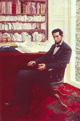 Portrait of Abraham Lincoln (colour litho) by Pyle, Howard (1853-1911)